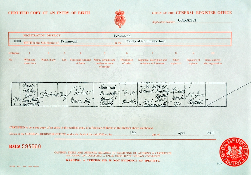 Birth certificate of Frederick Nessworthy