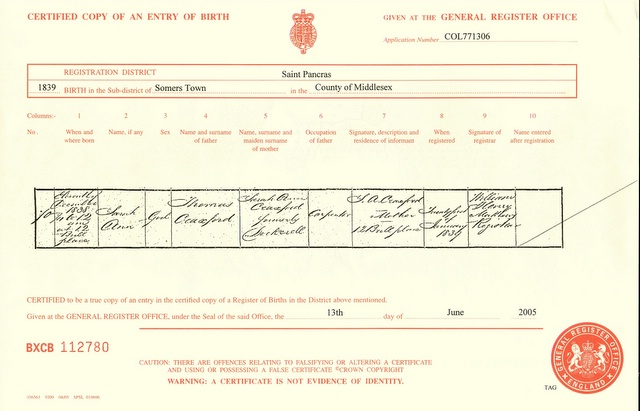 Birth certificate of Sarah Craxford (1839)