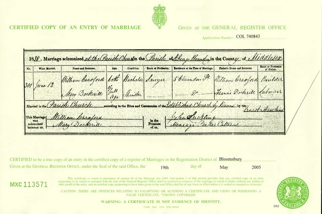 Marriage certificate for William Craxford and Mary Dockerill