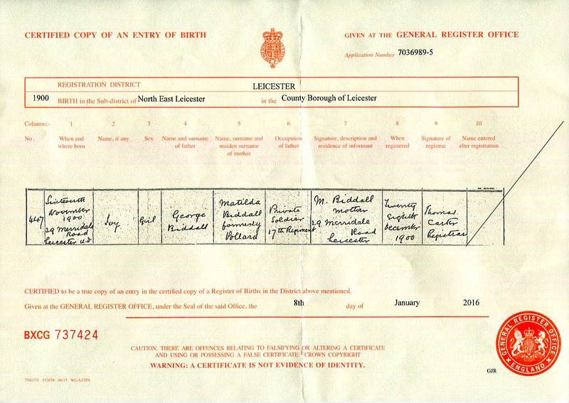 The birth certificate Ivy Biddall (1900)