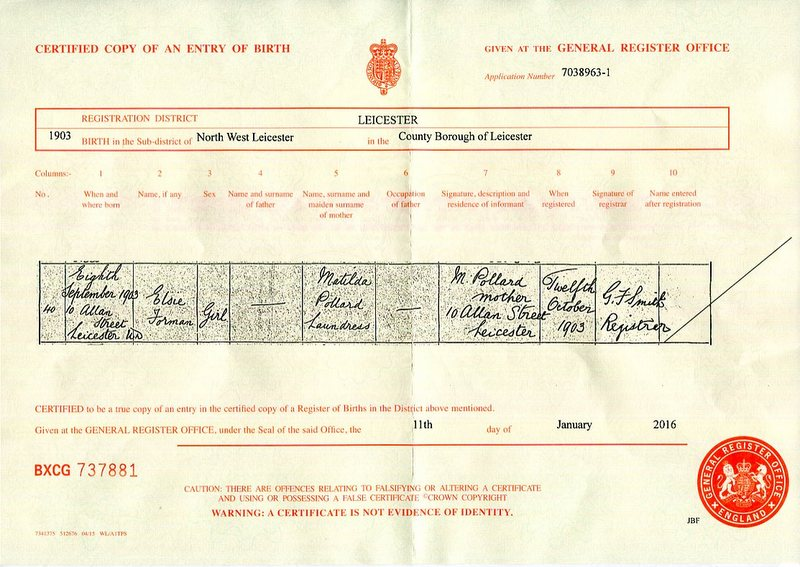 The birth certificate Elsie Pollard (1903)