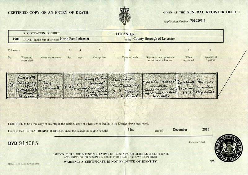 The death certificate of Ivy Biddall (1901)
