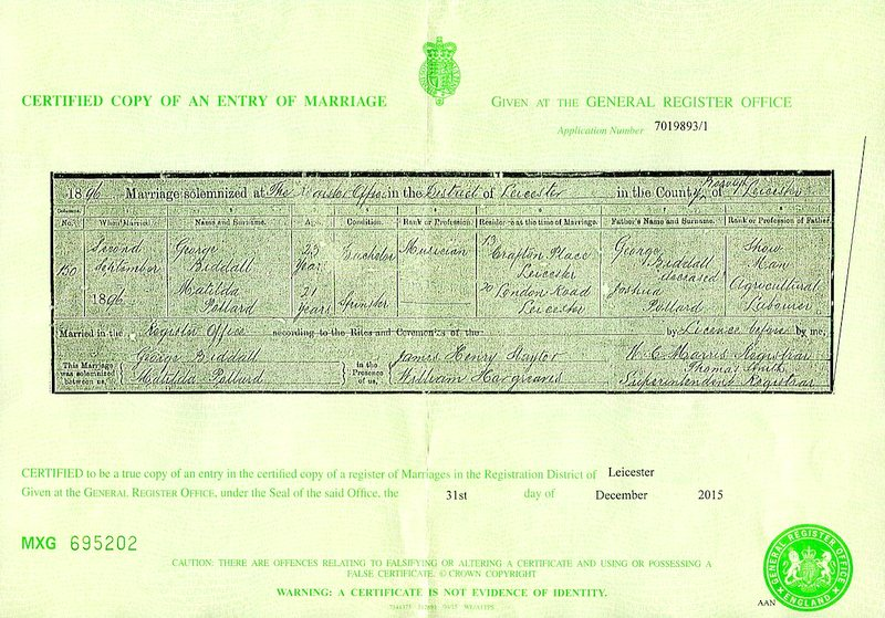 The marriage certificate Pollard Biddall (1896)
