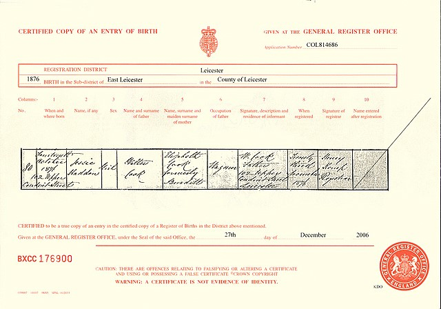 The birth certificate for Jessie Haddon Cook (1876)