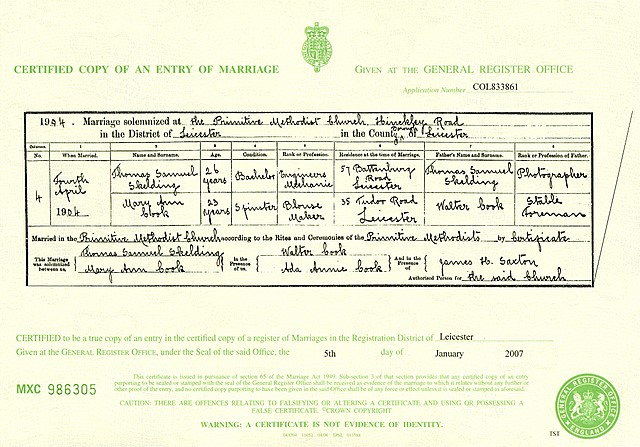 The marriage certificate for Cook/Skelding (1904)