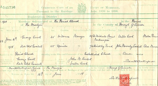The marriage certificate for George Cook and Ethel Goodall