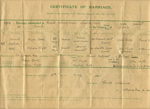 The marriage certificate for George Cook and Miriam Naylor (1909)