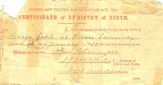 Birth certificate of George Cook