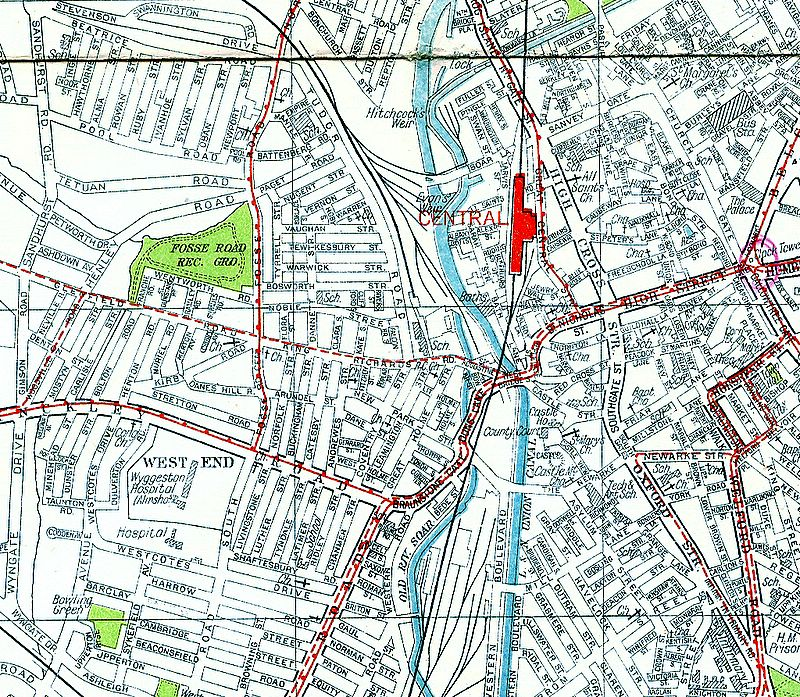 Fosse Road area map about 1950