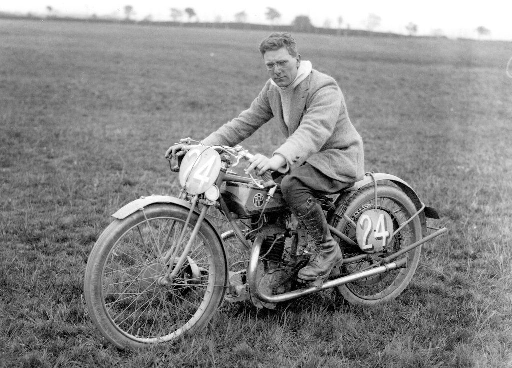 Roy Craxford aboard his 1923 P.V. motorcycle prior to the T.T. race
