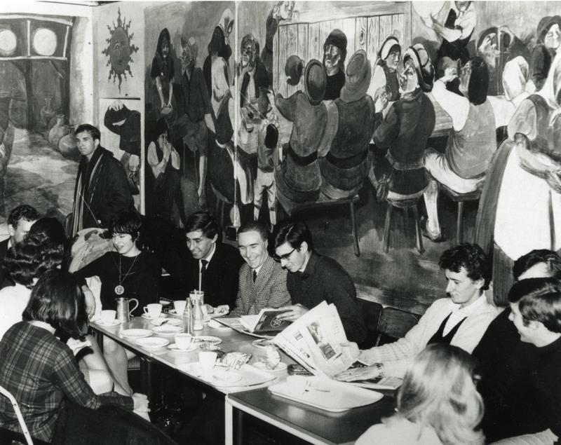The mural in the basement bar of the Old Students Union