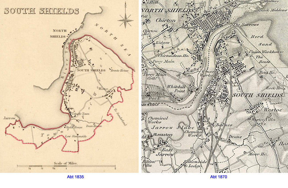 Maps of South Shields 1835 and 1870
