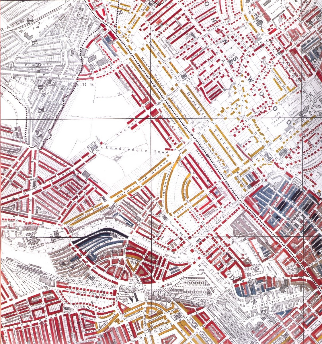 Paddington Green area in Charles Booth's poverty maps