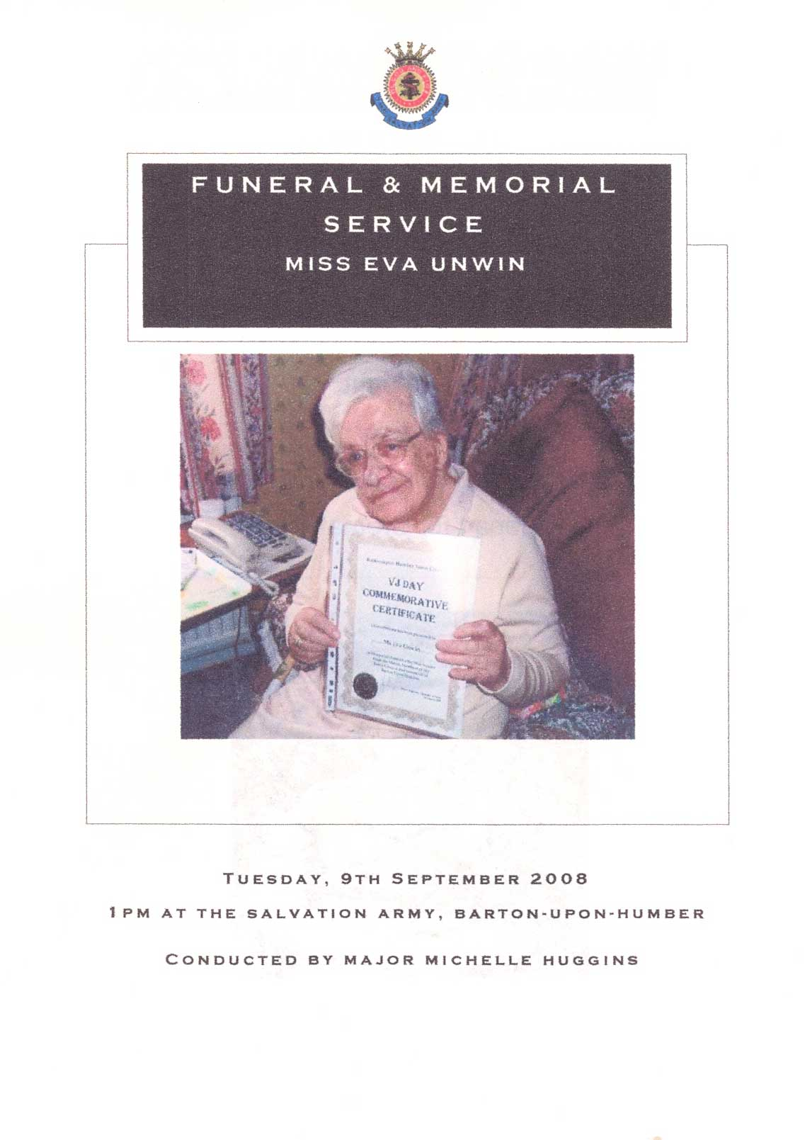 Eva's funeral: Order of Service