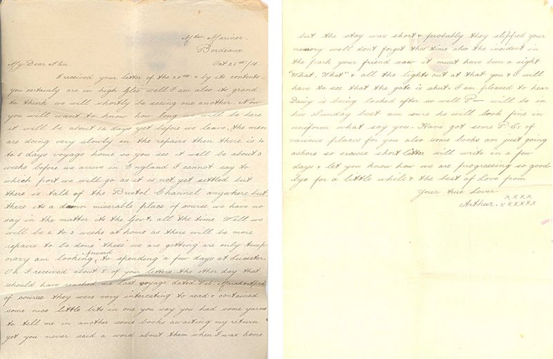 First letter from Bordeaux, France: April 1916