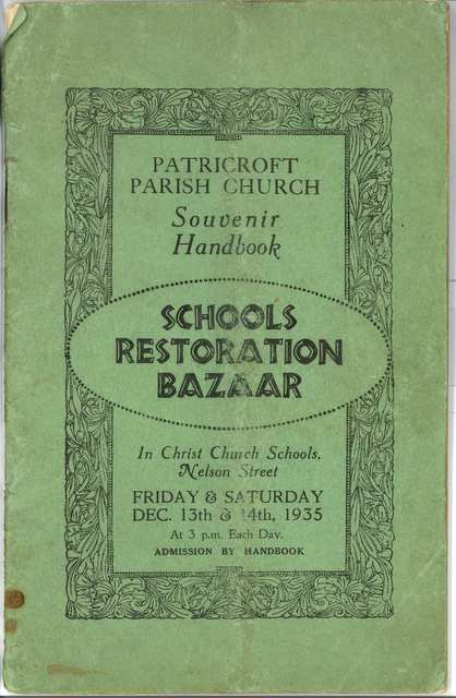 Schools Restoration Bazaar, Patricroft: Sale of work 1935