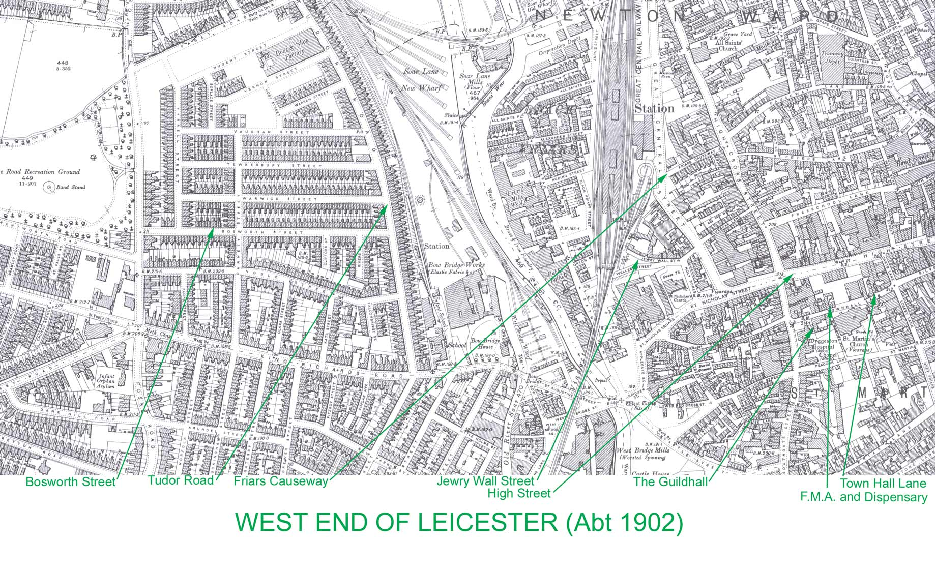 The West End of Leicester 1902 map