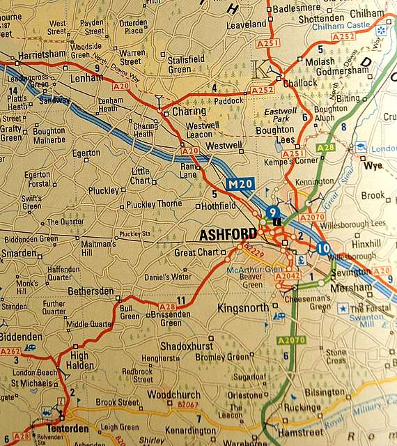 Access a map of Kent around Ashford: The named villages are to the north and northwest