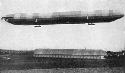 A World War I Zeppelin takes off for England